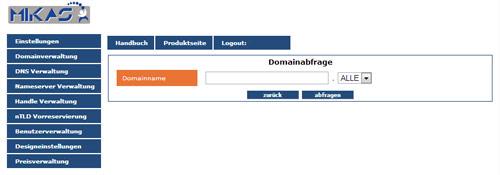 domain interface domainnregistrierung